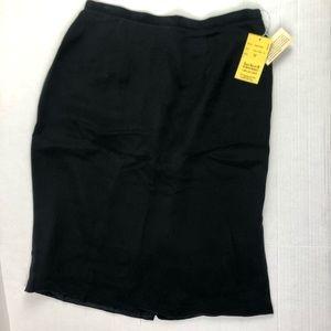 Vintage Anne Klein ll Black Silk Skirt